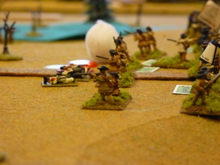 American Riflemen with militia in retreat